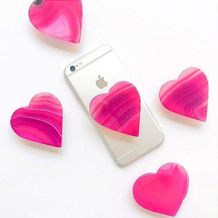 Pop Socket Ágata formato coração cor rosa | Phone Grip