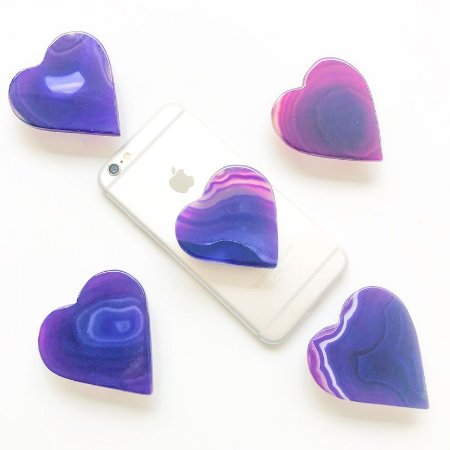 Pop Socket Ágata formato coração cor roxa | Phone Grip