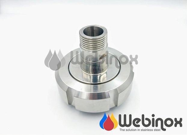 "Adaptador Niple Porca DIN 1.1/2"" x BSP/N MACHO 5/8"" Inox 304"