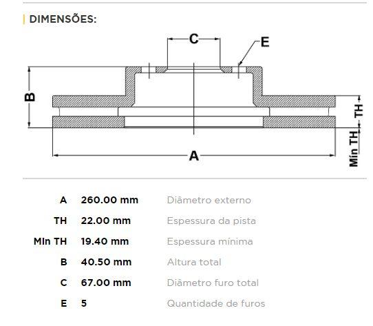 DISCO DE FREIO DIANTEIRO S/CUBO MERCEDES A160/ A190 - BD-0113 - (PAR)