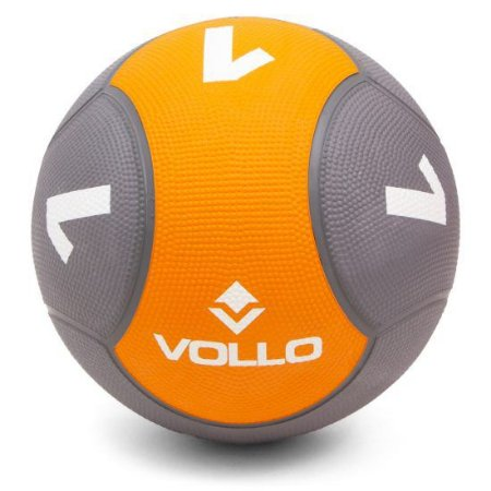 MEDICINE BALL SOLID PVC CINZA/LARANJA VOLLO