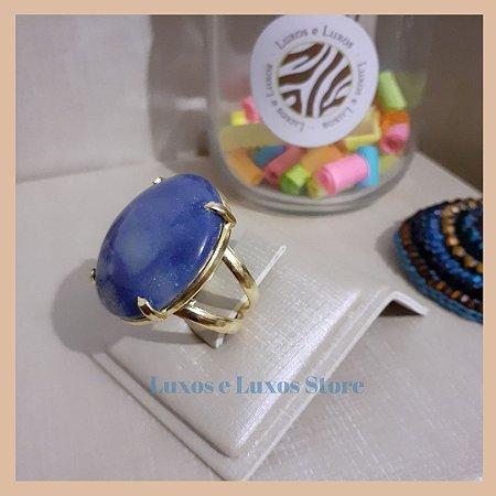 Anel Pedra Natural Quartzo Azul Banho Ouro 18K - Semijoia de Luxo