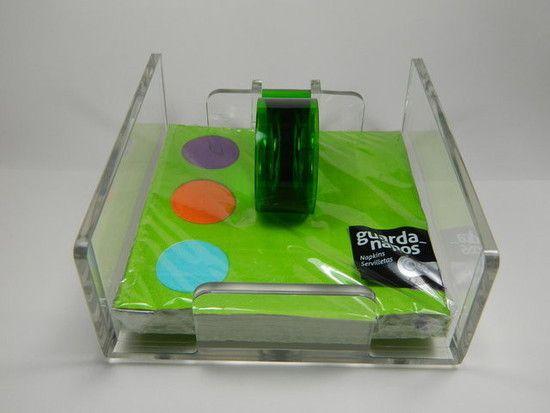 Porta Guardanapos de Acrílico - Design Moderno Luxo - Bônus: Um Pacote de Guardanapo Color Chique