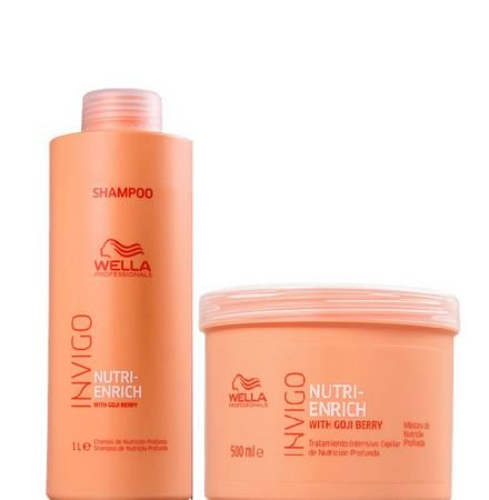 Kit Wella Enrich Shampoo (1 Litro) Máscara (500ml)