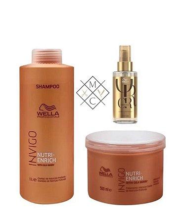 Kit Wella Enrich Shampoo (1 Litro) Máscara (500ml) +  01 Oil Reflections Luminous  GRÁTIS