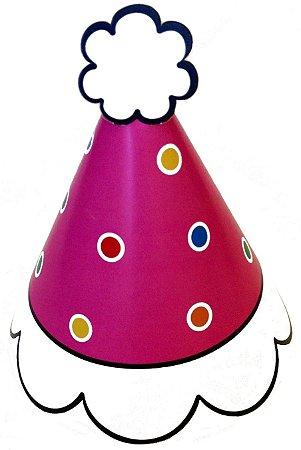 Chapeu p/ festa ROSA COM BOLINHAS