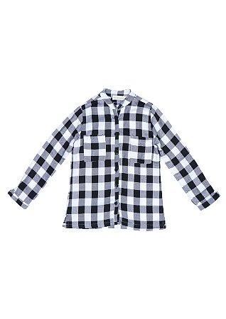 Camisa xadrez preto e branco Unissex