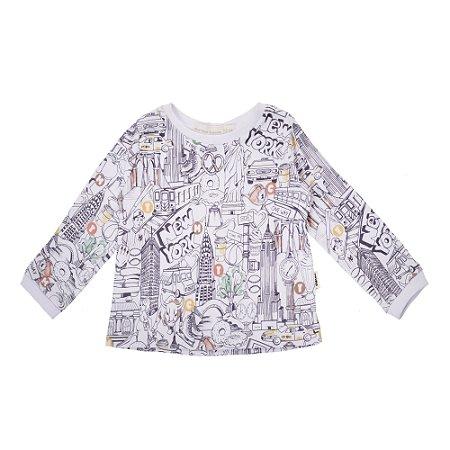 Camiseta manga longa Estampada New York