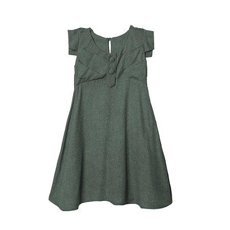 Vestido Reto Recortes Verde Militar- Elementos da Natureza