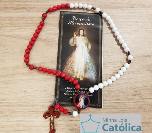 Terço da Misericórdia 8mm liso branco/vermelho cordão c/folheto - 165644