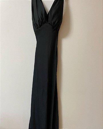 Vestido Longo Preto Acetinado