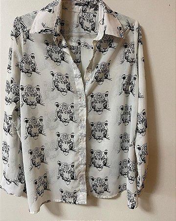 Camisa Viscose Tigre Branca