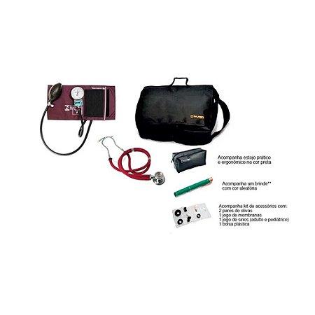 Kit Acadêmico - Aparelho de Pressão Nylon Bordo Velcro + Estetoscopio Rappaport + Bolsa + brinde - Pamed