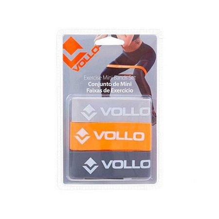 Kit Mini Band elásticos de exercícios 3 cm com 3 resistências - Vollo