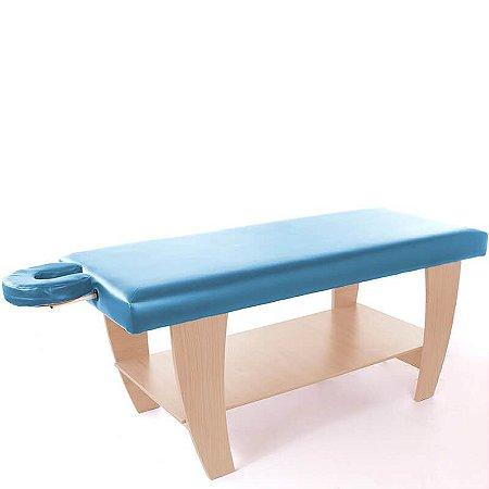 Maca para Massagem - Linha Creta - Madeirado Ciliegio - Estofamento Azul Claro - Salus