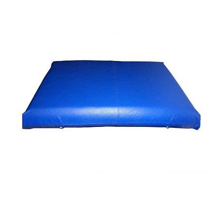 Travesseiro de Espuma 60x40x0,1cm Acabamento em Napa Azul - Só Espuma