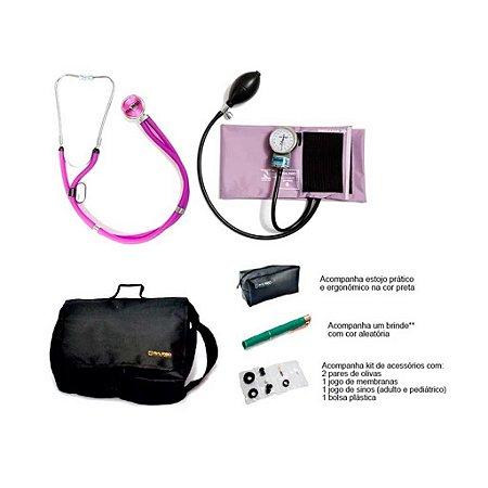 Kit Acadêmico Aparelho de Pressão Nylon Lilas Velcro + Estetoscopio Rappaport + Bolsa + brinde - Pamed