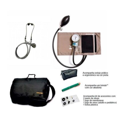 Kit Acadêmico Aparelho de Pressão Nylon Preto Velcro + Estetoscopio Rappaport + Bolsa + brinde