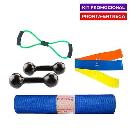 Kit Fit em Casa 2 - Halter+Elástico+Tapete+MiniBand