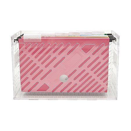 Caixa de Arquivo Dello Cristal com 6 Pasta Suspensa Colorida