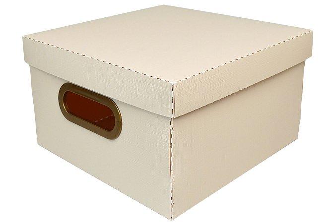 Caixa Organizadora Dello Linho Rosa Claro 25X25X15 cm