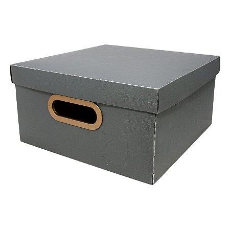 Caixa Organizadora Dello Linho Chumbo 25X25X15 cm