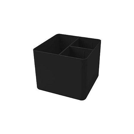 Porta Objetos Dello com 3 Divisórias Preto