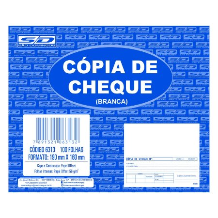 Bloco Cópia de Cheque São Domingos 190x160mm