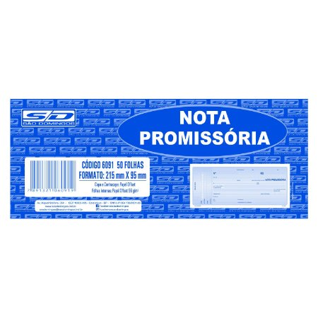 Bloco de Nota Promissória São Domingos 215X95mm 50 folhas