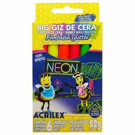 Big Giz De Cera Acrilex Fantasia Glitter Neon 6 Unidades