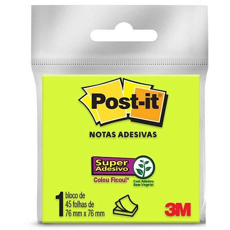 Bloco Adesivo 3M Post-It 76X76mm Verde 45 folhas