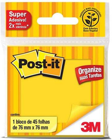 Bloco Adesivo 3M Post-It 76X76mm Amarelo Neon 45 folhas