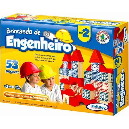 Brincando De Engenheiro II Xalingo 53 peças em Madeira