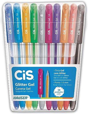 Caneta Cis 1.0 Glitter Gel com 10 Unidades