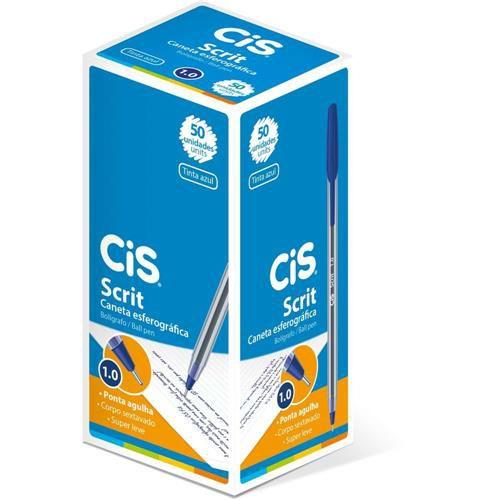 Caneta Cis 1.0 Scrit Azul com 50 unidades
