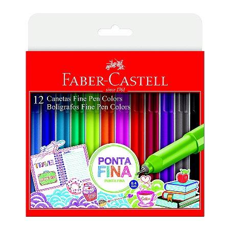 Caneta Faber Castell 0.4 Fine Pen com 12 Unidades