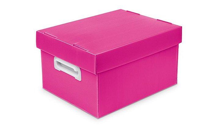 Caixa Organizadora Polibras P 180X255X335 mm Rosa