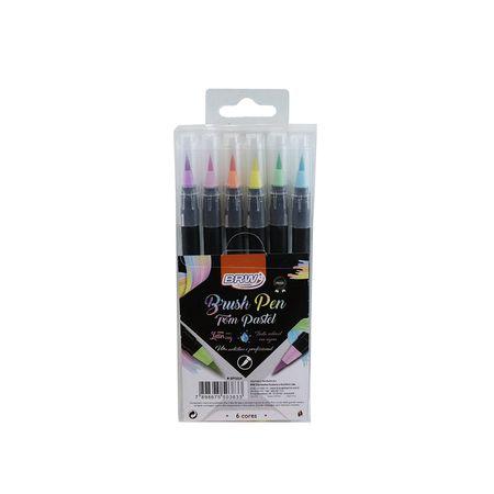 Caneta Brw Brush Pen Tons Pastel com 6 unidades
