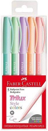 Kit de Canetas Faber-Castell Trilux Style Colors com 5 unida