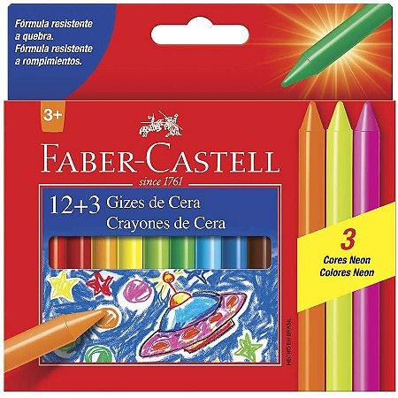 Giz De Cera Faber Castell 12 Unidades + 3 Neon