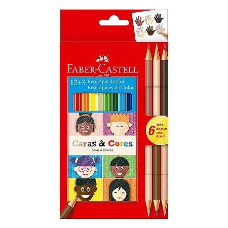 Lápis de Cor Faber Castell Caras e Cores com 12 Unidades +3 lápis de cor duo