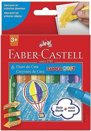 Giz De Cera Faber Castell Super Soft 6 Unidades