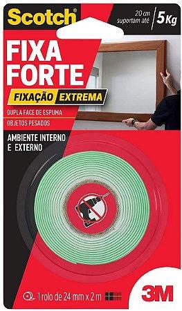 Fita 3M Dupla Face Fixa Forte Espuma 5Kg 24mmx2M