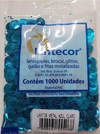 Lantejoula Lantecor Azul Turqueza N8 1000 Unidades