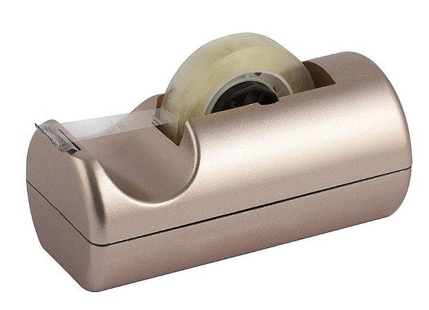 Porta Durex Waleu Pequeno Metalizado Rosê