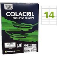 Etiqueta Colacril Cc182 14 por Folha 33,9mmx101,6mm com 100