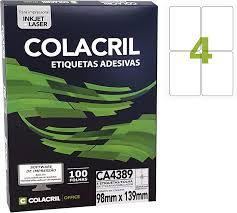 Etiqueta Colacril Ca 4389 4 por Folha 98mmx139mm com 100 folhas