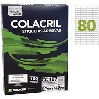Etiqueta Colacril Cc187 80 por Folha 12,7mmx44,45mm com 100