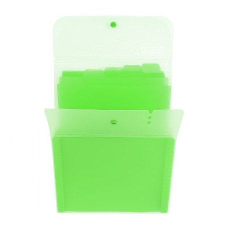 Pasta Sanfonada Vertical Dermiwil Container 5 Divisórias Verde