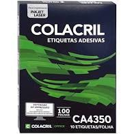 Etiqueta Colacril CA4350 10 por Folha 99mmx55,8mm com 100 fo